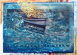 soul boat, water, encaustic mixed-media painting