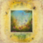 """In the Garden of of Bee-ing III"", 12"" x 12"" x 1"", mixed-media encaustic painting"