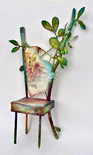 """Seat of the Song in Spring"", 22"" x 11"" x 6 1/2"", mixed-media assemblage, Private Collection"
