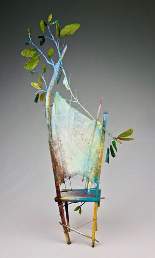 """A Chair in Spring"", Seat of the Soul, 27"" x 14"" x 6"", back, mixed-media assemblage, Private Collection"