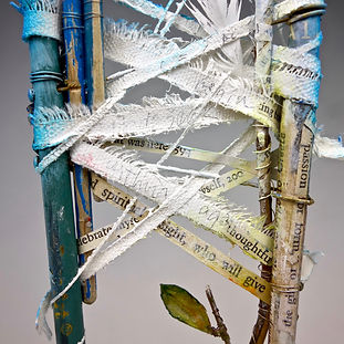"""CHAIR - Spirit of Meditation"", Seat of the Soul, 17"" x 5"" x 5"", Close Up, mixed-media assemblage"