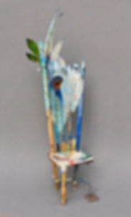 """Seat of the Bluebird"", 10"" x 3 1/2"" x 2 1/2"", mixed-media assemblage, Private Collection"