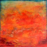"""RED Sky Symphony - Sailor's Delight I"", NSJ, 5"" x 7"" x 1 1/2"", mixed-media encaustic painting"