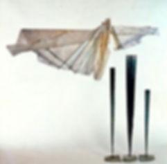 paper, wire, copper sculpture, clouds, totems