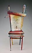 artist, poet, chair, mixed media assemblage