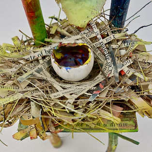 """Begin Again - Spring"", Seat of the Soul, 7"" x 3.5"" x 3"", Close Up, mixed-media assemblage, Private Collection"