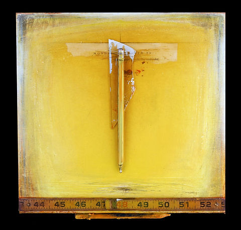 """One Undivided - Yellow"", Artist Way, 11"" x 11"" x 1"", mixed-media acrylic assemblage painting, Private Collection"