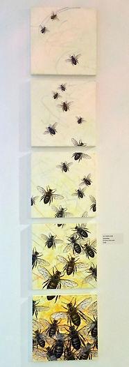 honey bees, bees, mixed-media encaustic
