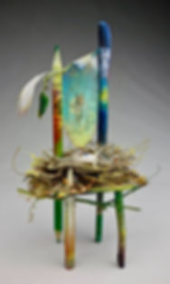 """Begin Again - Spring"", Seat of the Soul, 7"" x 3.5"" x 3"", mixed-media assemblage, Private Collection"