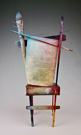 """Artist / Poet Chair"", Seat of the Soul, 19"" x 11"" x 6"", back, mixed-media assemblage"