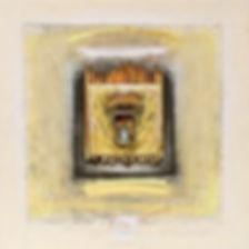 """""""Drawn Seeking"""", 18"""" x 18"""" x 2"""", shadowbox, mixed-media oil pastel assemblage"""