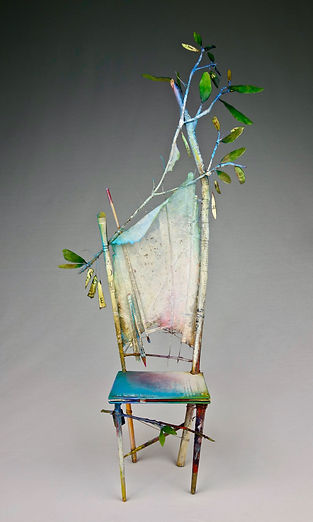 """A Chair in Spring"", Seat of the Soul, 27"" x 14"" x 6"", mixed-media assemblage, Private Collection"