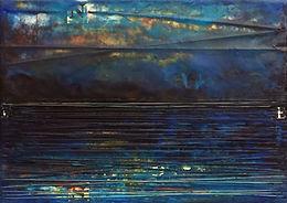 """Twilight Reflection"", NSJ, 5"" x 7"" x 1 1/2"", mixed-media encaustic painting"