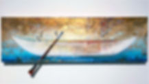 """Poetic Passage - Self Portrait of the Artist as Soul Boat"", Navigating the Soul's Journey, 11.5"" x 37"" x 1"", acrylic mixed-media painting"