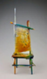 """Chair of BEE-ing"", Seat of the Soul, 14 1/2"" x  5"" x 5"", back, mixed-media assemblage"