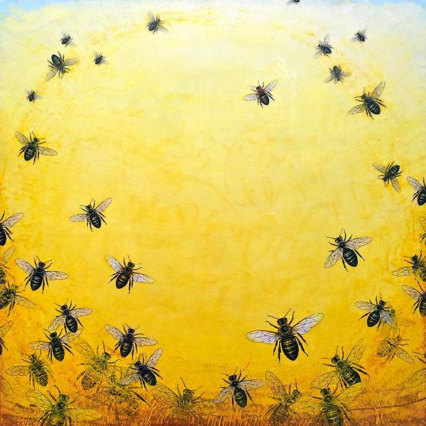 """Bee Dance"", Way of Bee-ing, 48"" x 48"" x 1 3/4"", mixed-media encaustic painting"