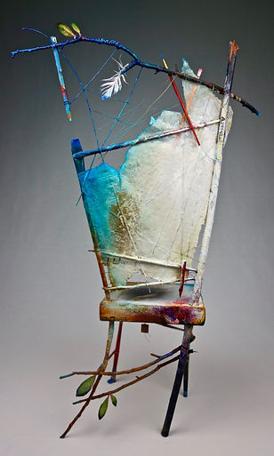 "Artist / Poet Portrait Chair...a dialogue  Seat of the Soul, 30 1/2"" x 18"" x 11"", back, mixed-media assemblage"