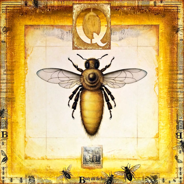 """""""Queen - Mother of the Bees"""", Way of Bee-ing, 48"""" x 48"""" x 1 3/4"""", mixed-media encaustic painting"""