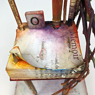 """Memoir - Chapter 2"", Seat of the Soul, 17 1/2"" x 5"" x 5"", Close Up, mixed-media assemblage"