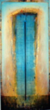 """Passage To Within"", Poet Landscape, 80"" x 36"" x 1 1/2"", acrylic mixed-media painting"