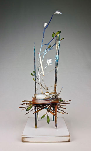 """ACT 1 - Spring"", Seat of the Soul, 22"" x 8"" x 8"", mixed-media assemblage"