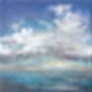 """Clouds at Sea II"", Tapestry Seascape Series, 8"" x 8"" x 1 1/2"", mixed-media encaustic"
