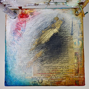 "Artist / Poet Portrait Chair...a dialogue  Seat of the Soul, 30 1/2"" x 18"" x 11"", Close Up, mixed-media assemblage"