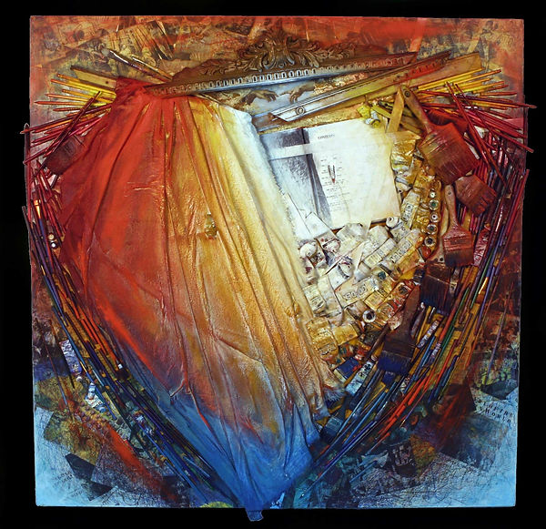 """The heART of ART"", Artist Way, 48"" x 48"" x 6"", mixed-media acrylic assemblage painting"