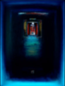 """Twilight Studio I"", 24"" x 18"" x 3"", shadowbox, mixed-media oil pastel assemblage"
