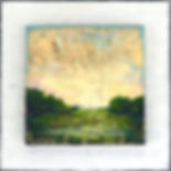 """Spring in the Marsh II"", Tapestry Landscape Series, 8"" x 8"" x 1 1/2"", mixed-media encaustic, Private Collection"