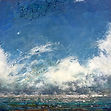 storm cloud, seascape, mixed-media encaustic painting