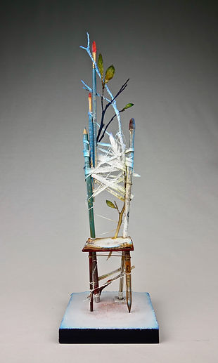 """CHAIR - Spirit of Meditation"", Seat of the Soul, 17"" x 5"" x 5"", mixed-media assemblage"