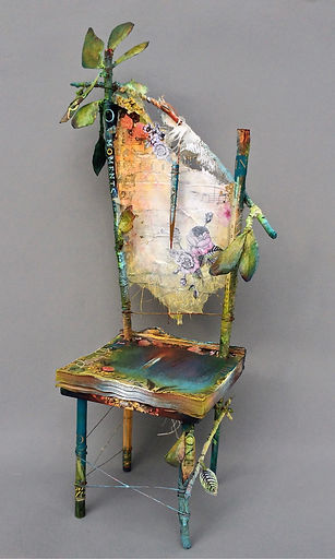 """Seat of the Spring Poet"", 20"" x 9"" x 6 1/2"", mixed-media assemblage, Private Collection"