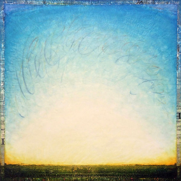 """""""Meditation of Bee-ing"""", Way of Bee-ing, 48"""" x 48"""" x 1 3/4"""", mixed-media encaustic painting, Private Collection"""