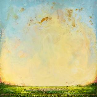 summer marsh, mixed-media encaustic painting
