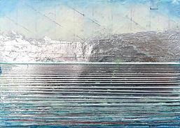 """Dawn's Silver Lining"", NSJ, 5"" x 7"" x 1 1/2"", mixed-media encaustic painting"