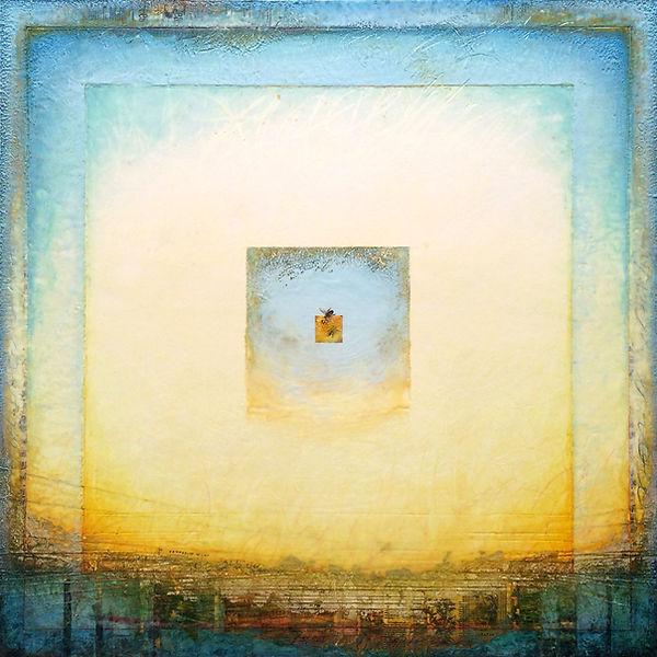 honey bee, bees, essence, mixed-media encaustic painting