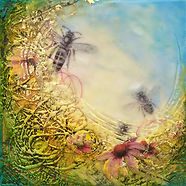 honey bees, bees, garden, mixed-media encaustic