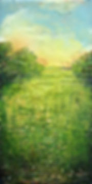 """Heat of the Summer Marsh II, 11"" x 5 1/2"" x 3/4"", mixed-media encaustic, Private Collection"