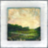 "Spring in the Marsh II, Tapestry Landscape Series, 8"" x 8"" x 1 1/2"", mixed-media encaustic"