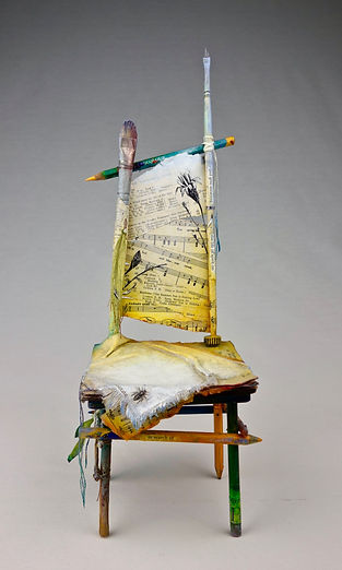 """Chair of BEE-ing"", Seat of the Soul, 14 1/2"" x  5"" x 5"", mixed-media assemblage"