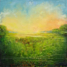 """Heat of the Summer Marsh I"", 11"" x 11"" x 3/4"", mixed-media encaustic, Private Collection"