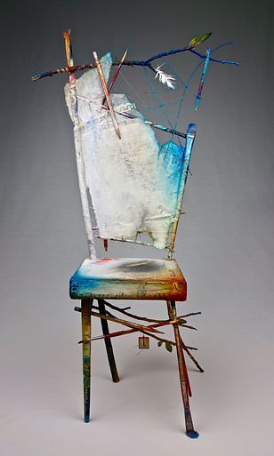 "Artist / Poet Portrait Chair...a dialogue  Seat of the Soul, 30 1/2"" x 18"" x 11"", mixed-media assemblage"