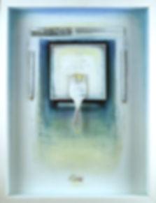 """White Meditation"", Artist Way, 24"" x 18"" x 3"", shadowbox, mixed-media oil pastel assemblage"