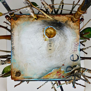 """ACT 1 - Spring"", Seat of the Soul, 22"" x 8"" x 8"", Close Up, mixed-media assemblage"