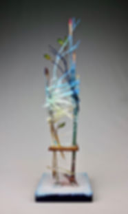 """CHAIR - Spirit of Meditation"", Seat of the Soul, 17"" x 5"" x 5"", back, mixed-media assemblage"