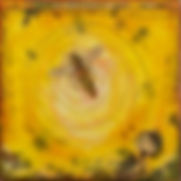 """Bee Study IV"", 6"" x 6"" x 1 1/4"", mixed-media encaustic painting, Private Collection"