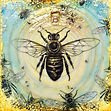 honey bee, mixed-media encaustic painting