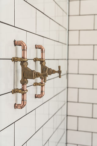 Brushed brass basin taps