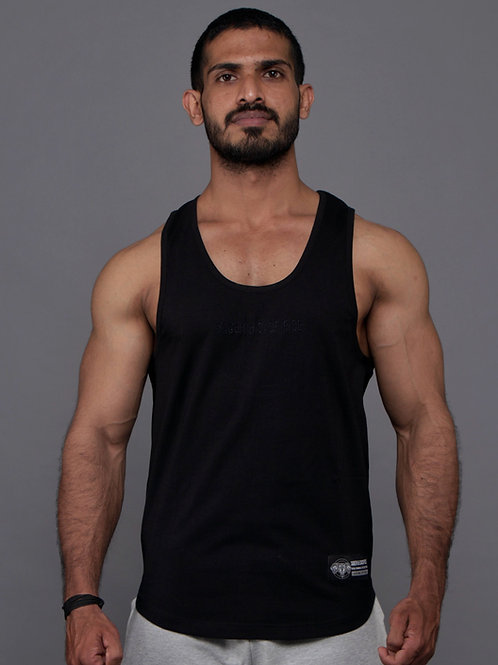 D001. Essential Embroidered Tank - Black